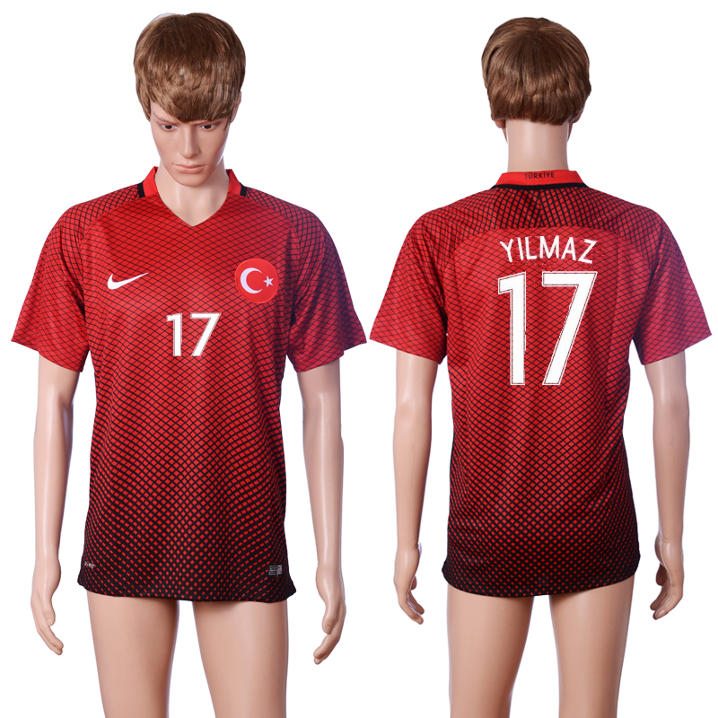 2016 European Cup Turkey home 17 YILMAZ Red AAA+ Soccer Jersey