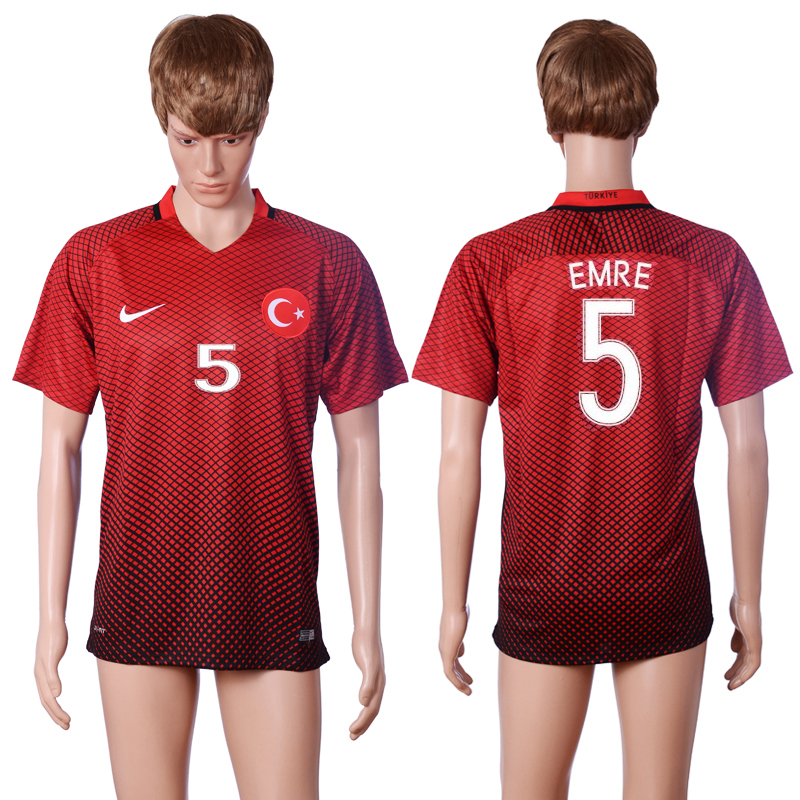 2016 European Cup Turkey home 5 EMRE Red AAA+ Soccer Jersey
