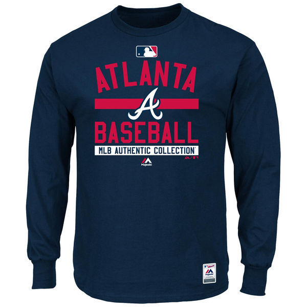 2016 MLB Atlanta Braves Majestic Men's Authentic Collection Team Property Long Sleeve T-Shirt Navy
