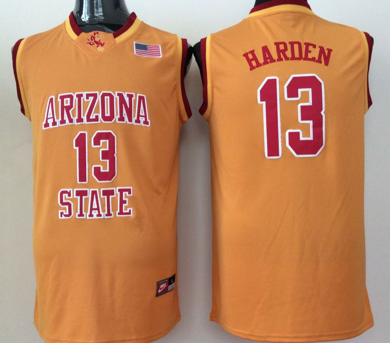 2016 NBA NCAA Arizona State Sun Devils 13 Harden Yellow jersey