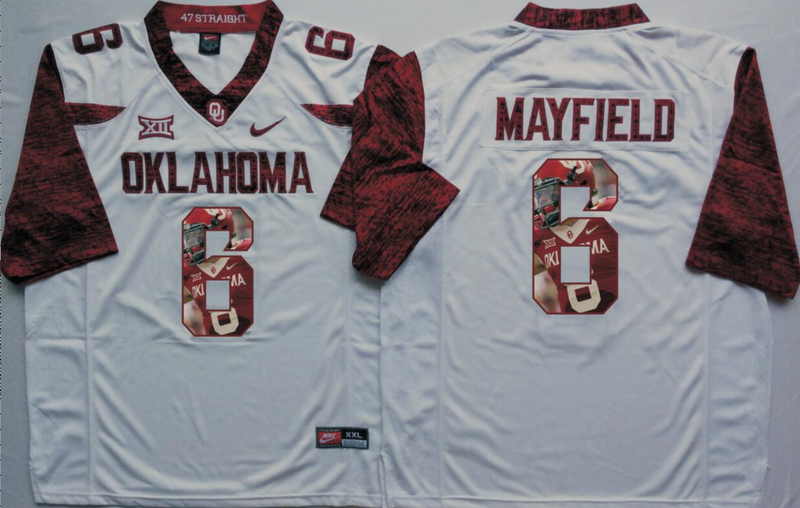 2016 NCAA Oklahoma Sooners 6 Mayfield White Limited Fashion Edition jersey