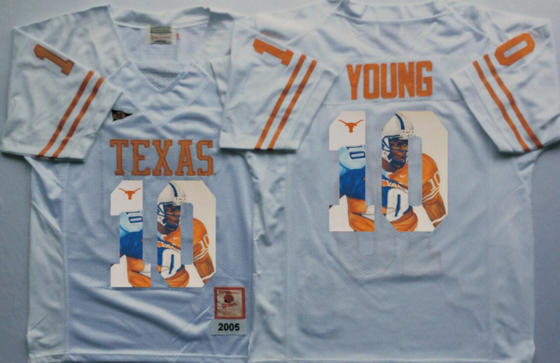 2016 NCAA Texas Longhorns 10 Young White Fashion Edition jersey