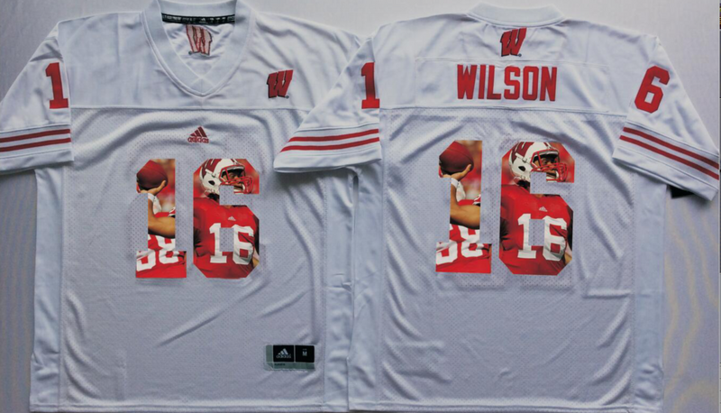 2016 NCAA Wisconsin Badgers 16 Wilson White Fashion Edition jersey