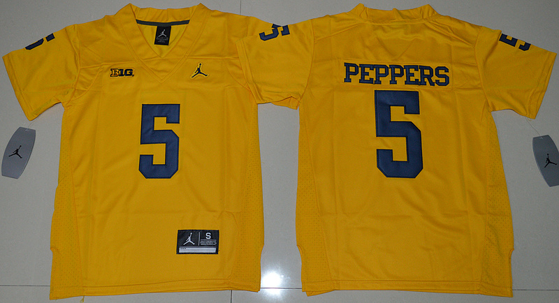 2016 Youth NCAA Jordan Brand Michigan Wolverines 5 Jabrill Peppers Yellow College Football Limited Jersey