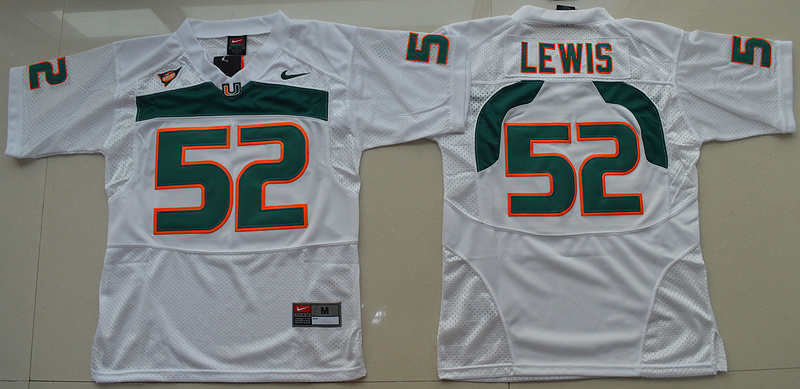 2016 Youth NCAA Miami Hurricanes 52 Ray Lewis White College Football Jersey