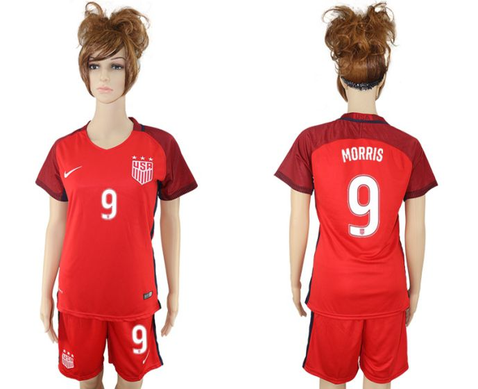 2017-2018 national women United States away 9 red morris soccer jersey