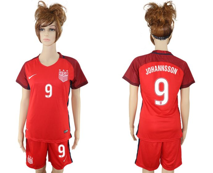 2017-2018 national women United States away 9 red soccer jersey