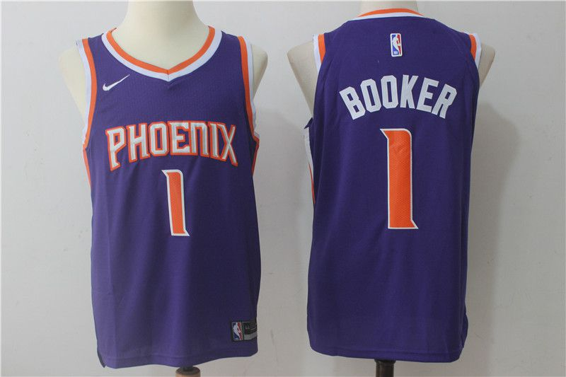 2017 Men Phoenix Suns 1 Booker Nike purple NBA jersey