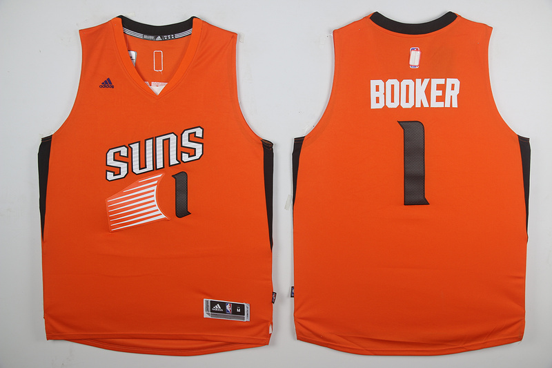 2017 NBA Phoenix Suns 1 Devin Booker Orange jersey