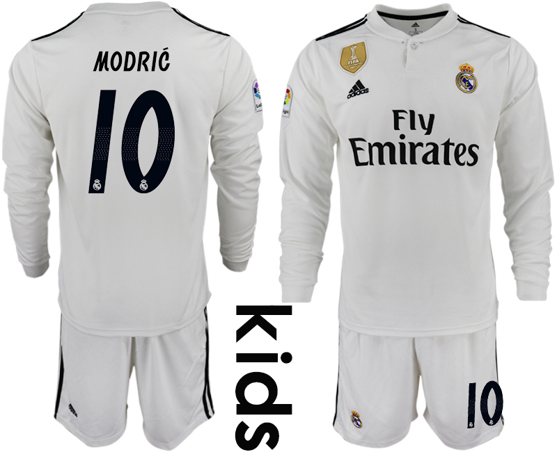 2018_2019 Club Real Madrid home long sleeve Youth 10 soccer jersey