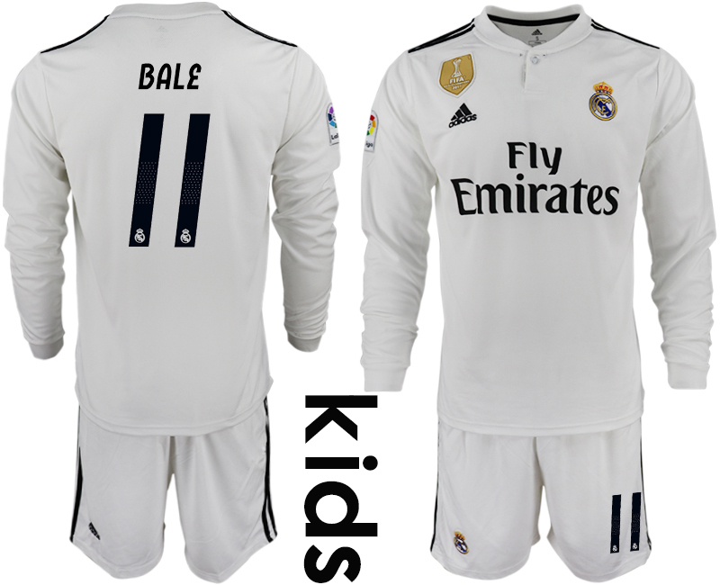 2018_2019 Club Real Madrid home long sleeve Youth 11 soccer jersey