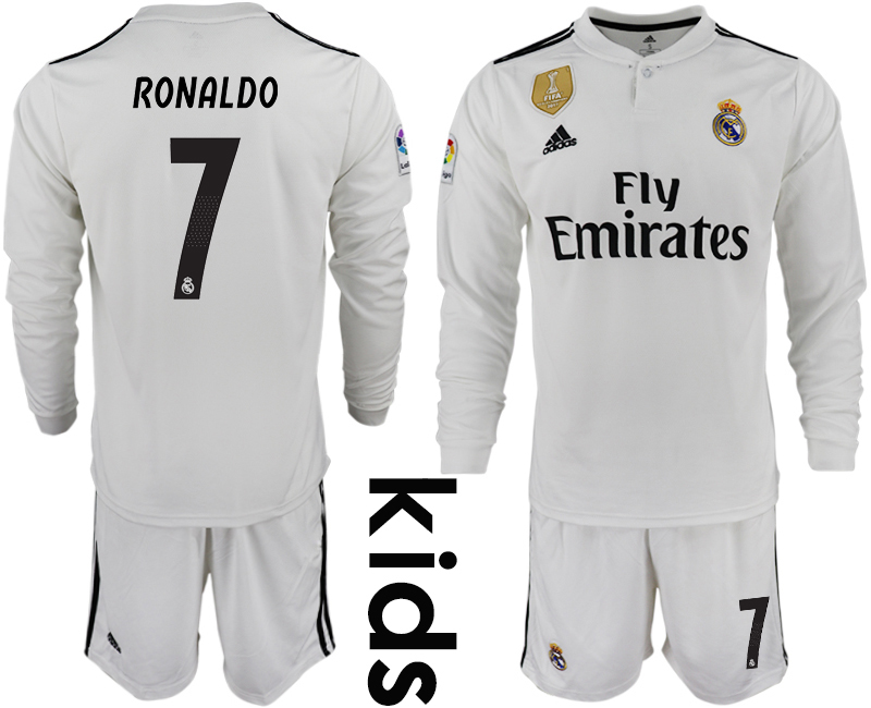 2018_2019 Club Real Madrid home long sleeve Youth 7 soccer jersey