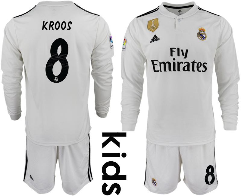 2018_2019 Club Real Madrid home long sleeve Youth 8 soccer jersey