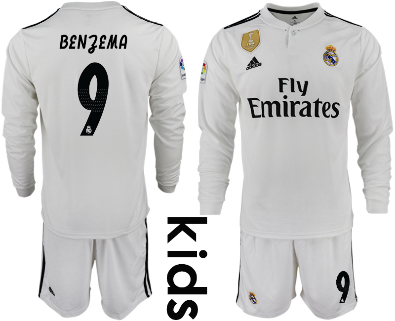 2018_2019 Club Real Madrid home long sleeve Youth 9 soccer jersey