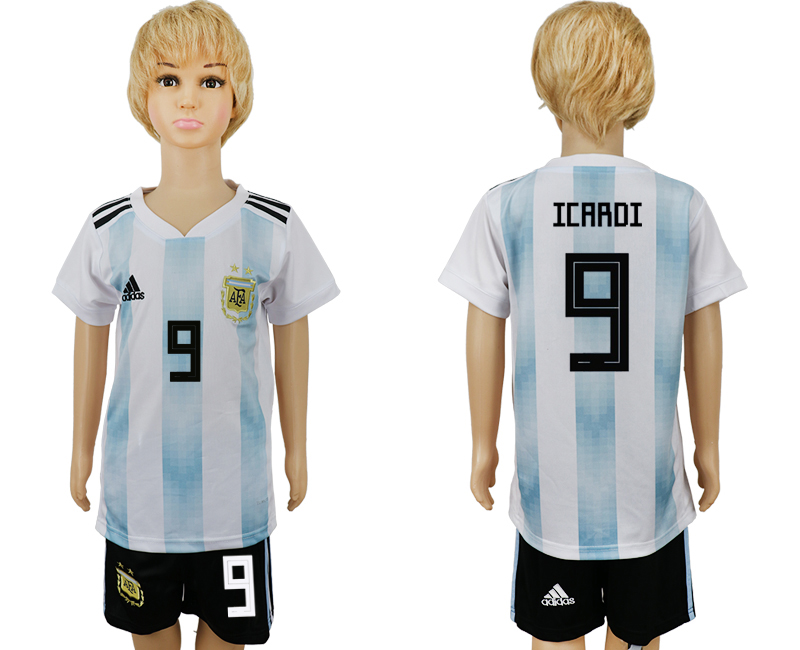 2018 World Cup Argentina home kids 9 white soccer jersey