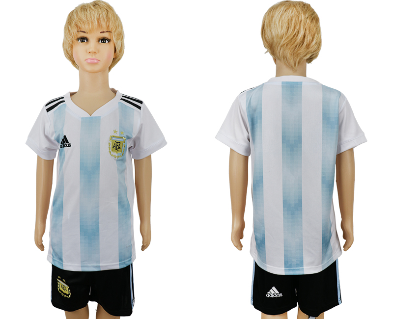 2018 World Cup Argentina home kids blank white soccer jersey