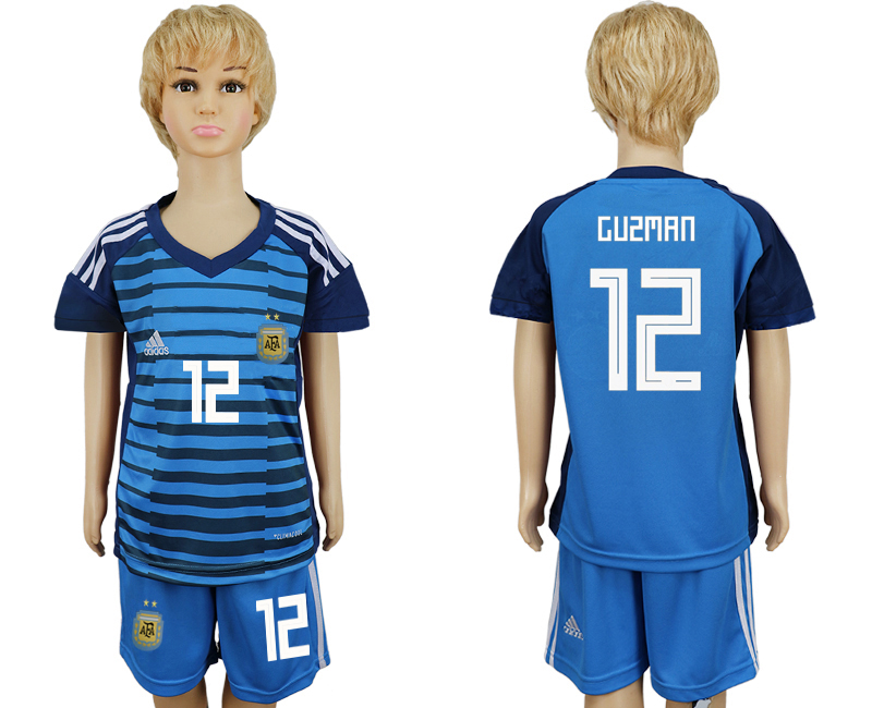 2018 World Cup Argentina Lake blue kids goalkeeper 12 soccer jersey