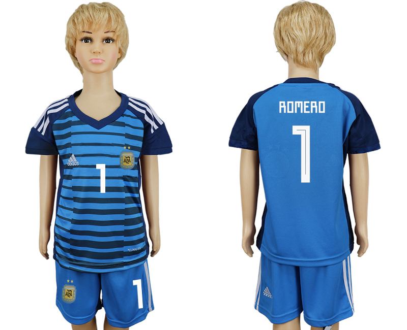 2018 World Cup Argentina Lake blue kids goalkeeper 1 soccer jersey