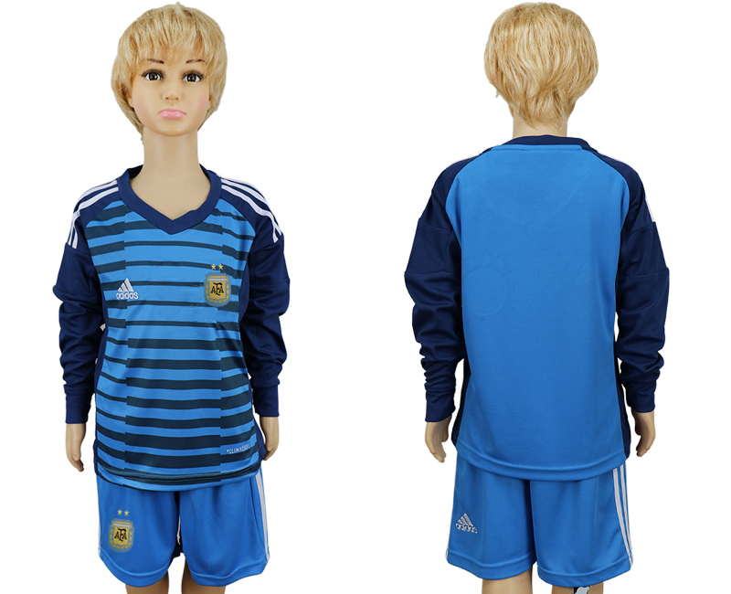 2018 World Cup Argentina Lake blue kids goalkeeper long sleeve soccer jersey