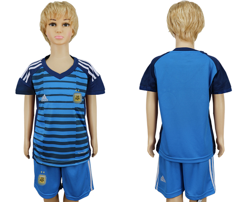 2018 World Cup Argentina Lake blue kids goalkeeper soccer jersey
