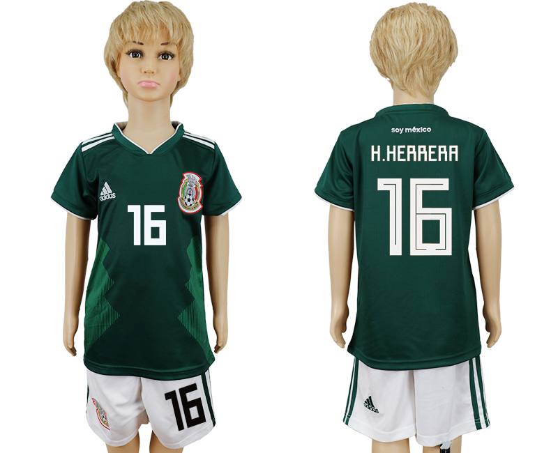 2018 World Cup National Mexico home kids 16 green soccer jersey