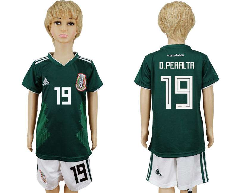 2018 World Cup National Mexico home kids 19 green soccer jersey