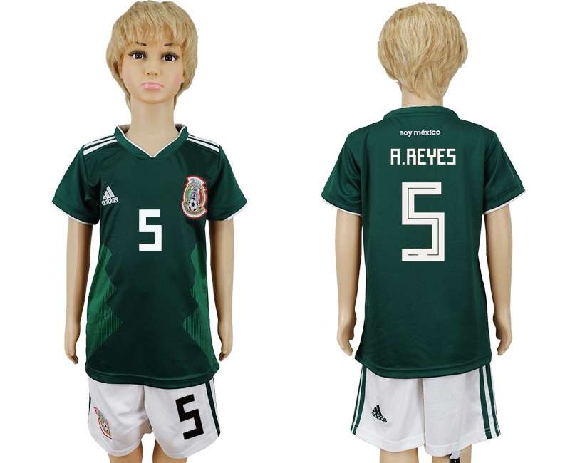 2018 World Cup National Mexico home kids 5 green soccer jersey