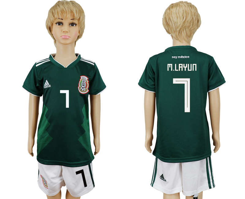 2018 World Cup National Mexico home kids 7 green soccer jersey