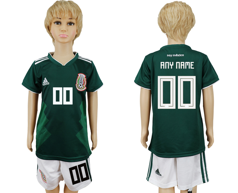 2018 World Cup National Mexico home kids customized green soccer jersey