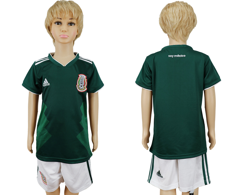 2018 World Cup National Mexico home kids green soccer jersey
