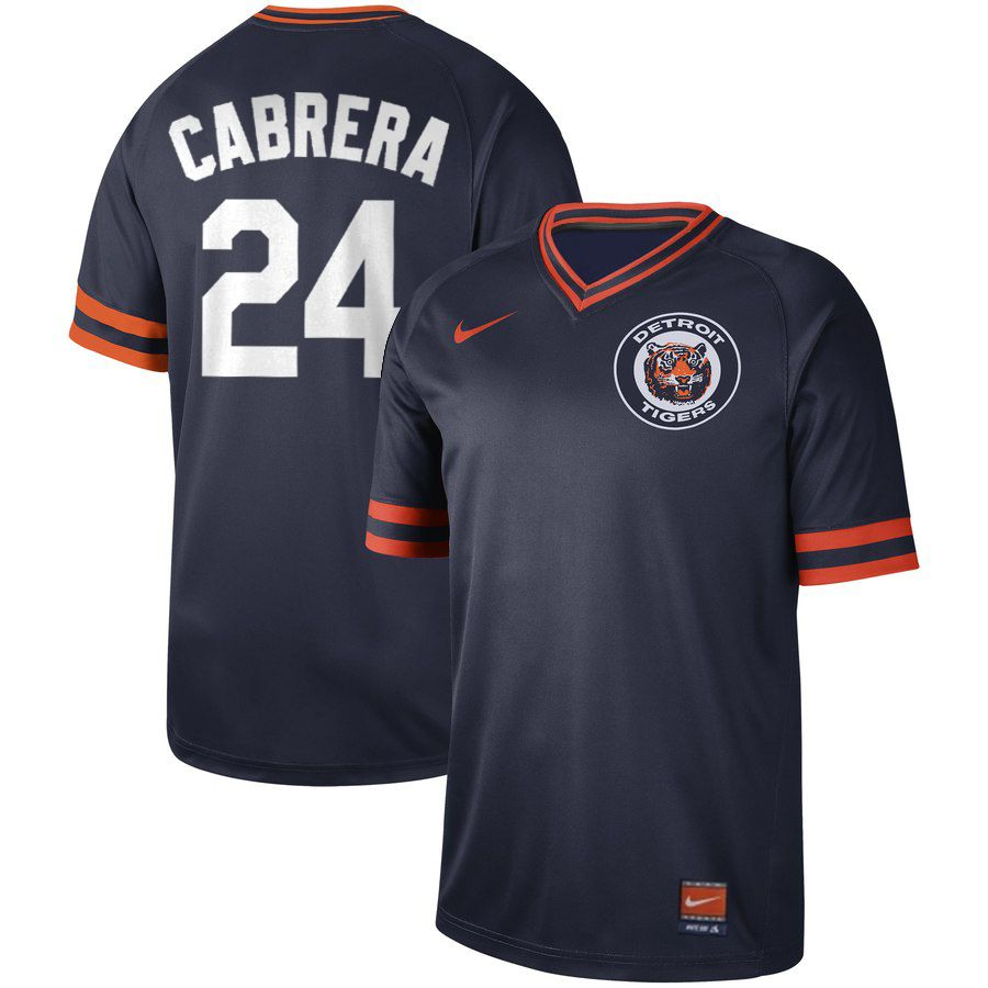 2019 Men MLB Detroit Tigers 24 Cabrera blue Nike Cooperstown Collection jersey