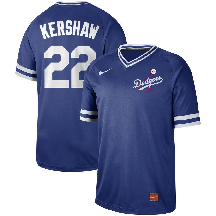 2019 Men MLB Los Angeles Dodgers 22 Kershaw blue Nike Cooperstown Collection jersey
