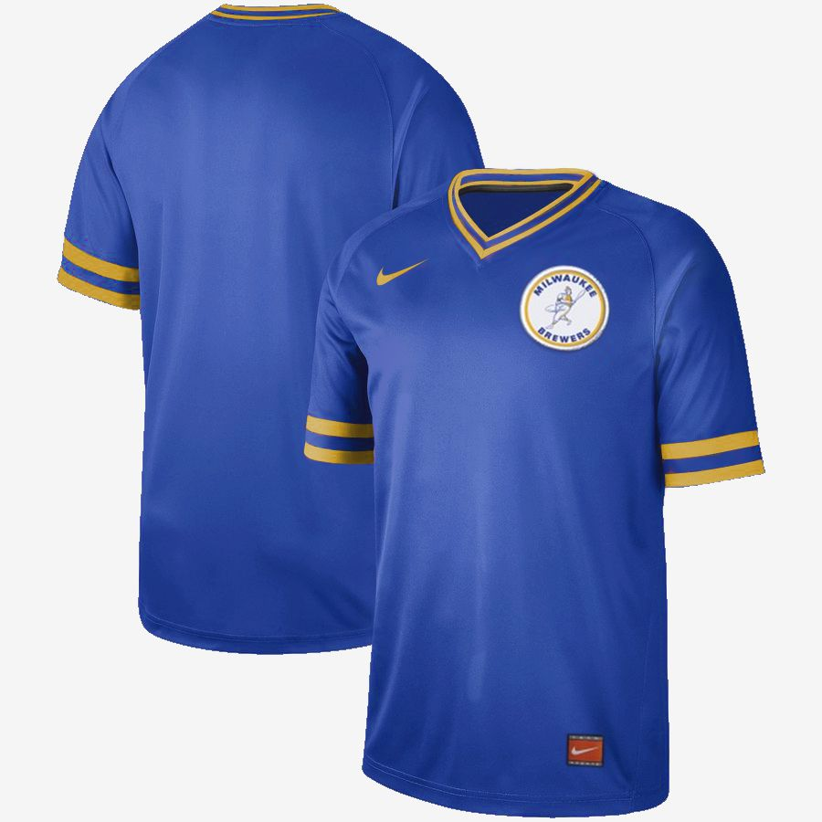 2019 Men MLB Milwaukee Brewers blank blue Nike Cooperstown Collection jersey