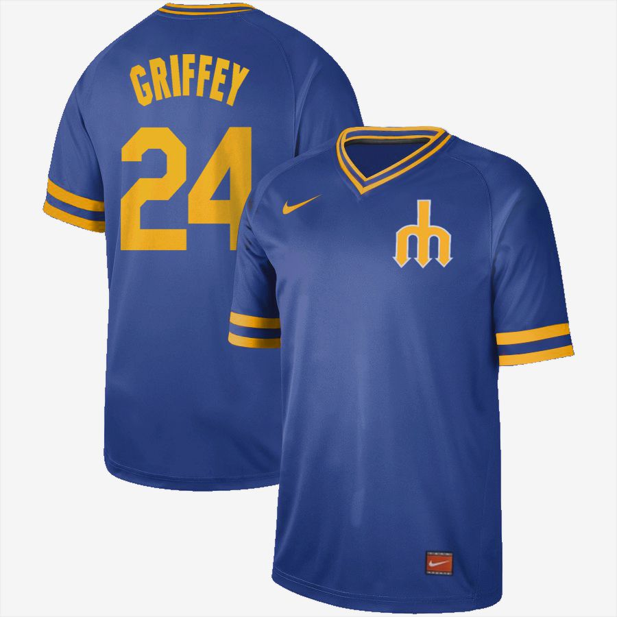 2019 Men MLB Seattle Mariners 24 Griffey blue Nike Cooperstown Collection jersey