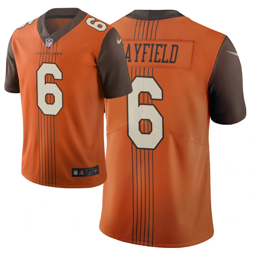 2019 New Nike Cleveland Browns 6 Mayfield Orange Vapor Limited City Edition NFL Jersey