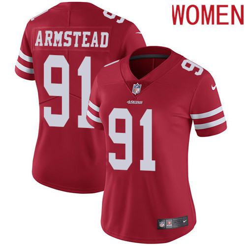 2019 Women San Francisco 49ers 91 Armstead red Nike Vapor Untouchable Limited NFL Jersey