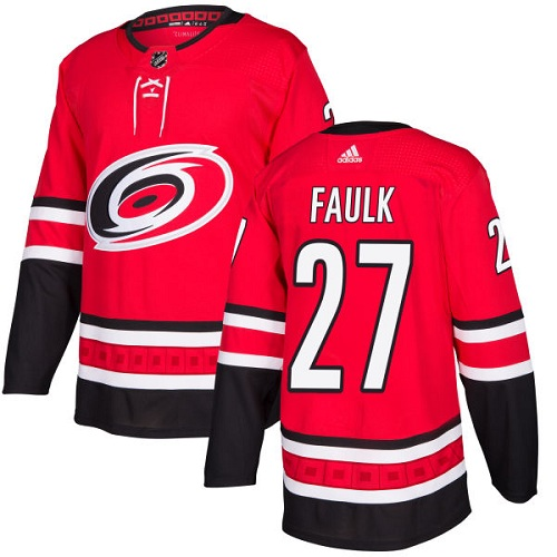 Adidas Men Carolina Hurricanes 27 Justin Faulk Red Home Authentic Stitched NHL Jersey