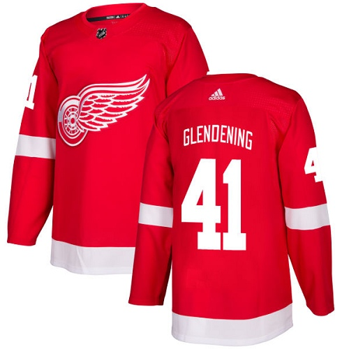 Adidas Men Detroit Red Wings 41 Luke Glendening Red Home Authentic Stitched NHL Jersey