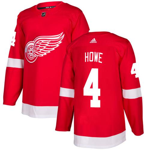 Adidas Men Detroit Red Wings 4 Gordie Howe Red Home Authentic Stitched NHL Jersey