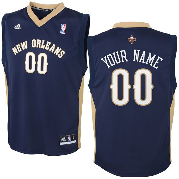 Adidas New Orleans Pelicans Youth Custom Replica Road Blue NBA Jersey