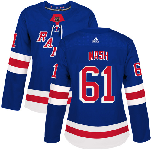 Adidas New York Rangers 61 Rick Nash Royal Blue Home Authentic Women Stitched NHL Jersey
