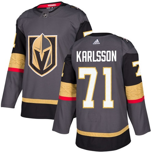 Adidas Vegas Golden Knights 71 William Karlsson Grey Home Authentic Stitched Youth NHL Jersey