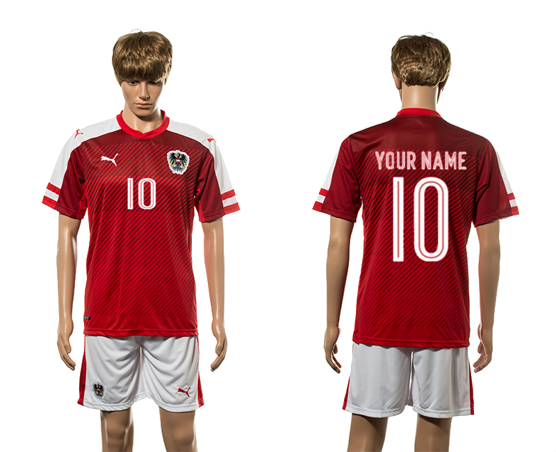 European Cup 2016 Austria home 10 customized red soccer jersey