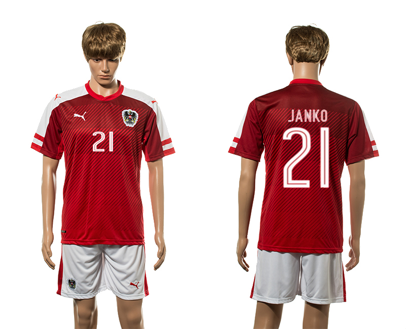 European Cup 2016 Austria home 21 Janko red soccer jersey