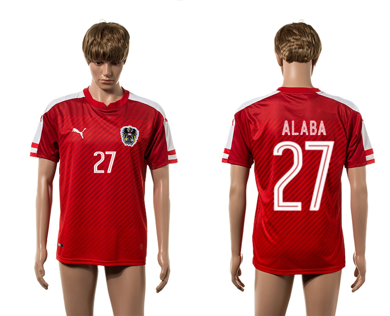 European Cup 2016 Austria home 27 Alaba red AAA+ soccer jersey