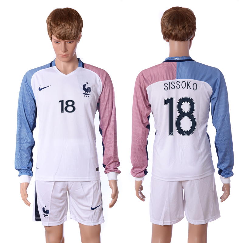 European Cup 2016 France away long sleeve 18 Sissoko white soccer jersey