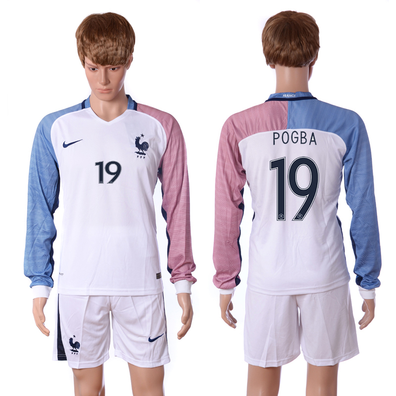 European Cup 2016 France away long sleeve 19 Pogba white soccer jersey