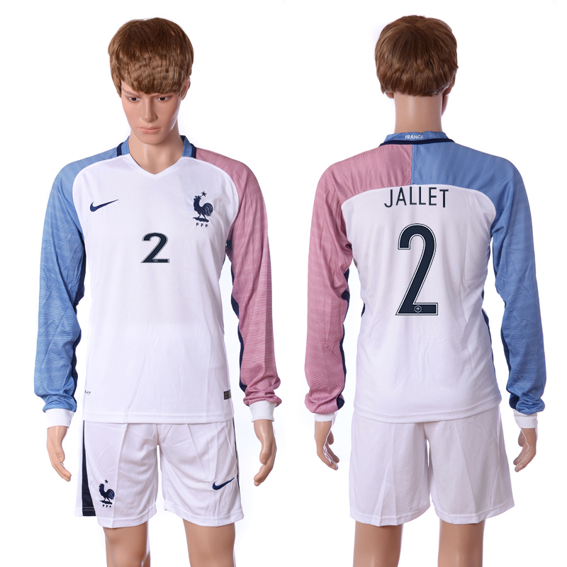 European Cup 2016 France away long sleeve 2 Jallet white soccer jersey