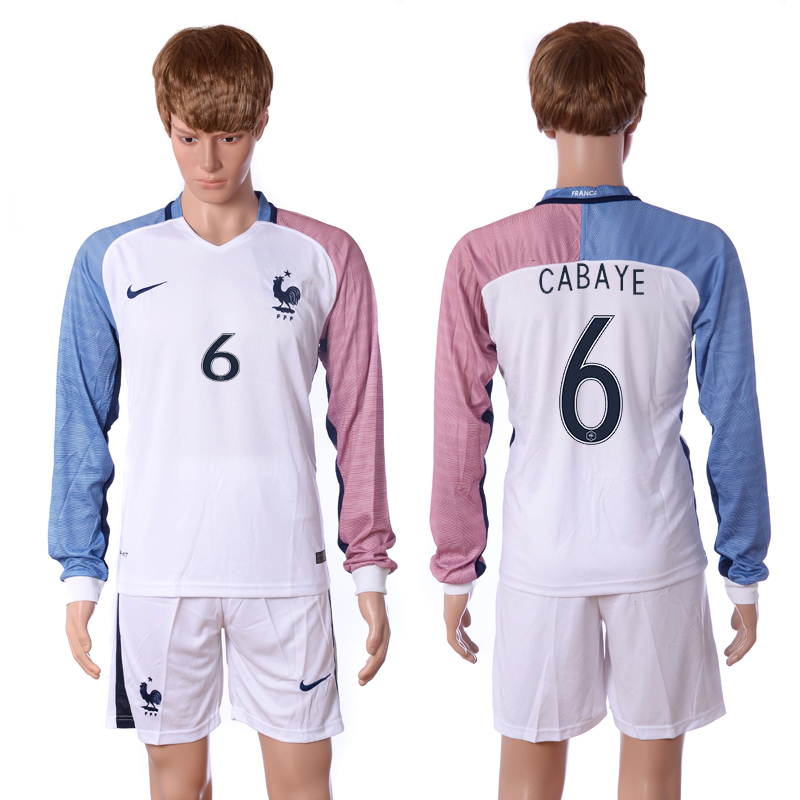 European Cup 2016 France away long sleeve 6 Cabaye white soccer jersey