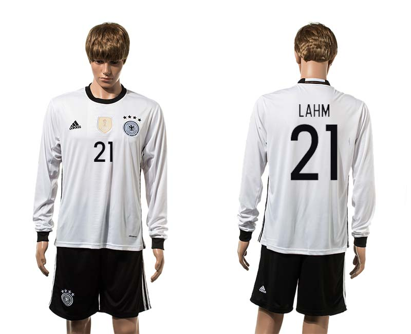 European Cup 2016 Germany home 21 Lahm white long sleeve soccer jersey
